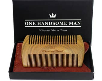The Ultimate Beard Comb — High Quality Sandalwood Comb with Luxurious Leather Travel Case and Gift Box