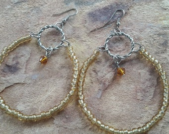 Big earrings big hoop earrings beaded/handmade/stylish/fashion/modern/elegant/simple/dance/party/light/wedding/bridesmaid/prom/earrings