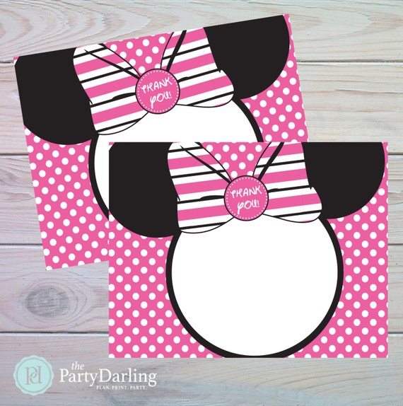minnie mouse thank you card minnie mouse birthday minnie mouse