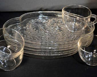 Vintage pressed glass snack sets,(4)  plates & cups