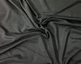 250 Grams Bamboo Spandex Fabric Jersey Knit by the Yard - Charcoal Gray 4 Way Stretch