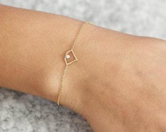 Diamond Bracelet, Dainty Gold Bracelet, Diamond Shape Bracelet, 14K Gold Chain Bracelet, Gold Layering Bracelet, Simple Gold Bracelet GB0285