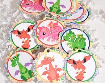 Dragon Tags, Dragon Birthday Baby Shower, Tags Dragon Baby Shower, Dragon Party Favor