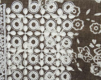 """Brown Cotton Fabric, Floral Embroidery, Designer Fabric, Dress Fabric, Sewign Decor, 43"""" Inch Apparel Fabric By The Yard ZBC7663A"""