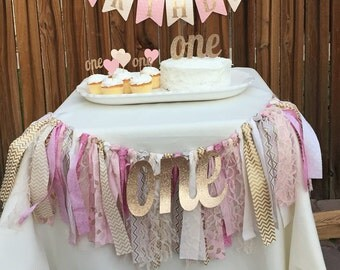 Rag Tie Garland, ONE High Chair Banner, 1st Birthday Pink Decor, Photo Prop, Birthday Banner,