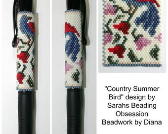 Country Summer Bird beaded pen