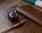 Patterned Italian Leather Calligraphy Writing Pad