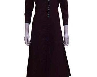 Women's Cotton A-line formal wear Kurti (Kurta)-Brown