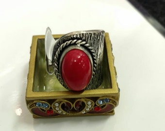 Red Coral Ring, Size Adjustable
