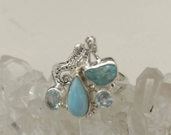 Seahorse Larimar and Apatite Ring Size 7 1/2