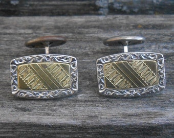 Vintage Victorian Style Cufflinks. Gold and Silver Colored. Gift for Men, Dad, Groom, Wedding, Anniversary, Birthday