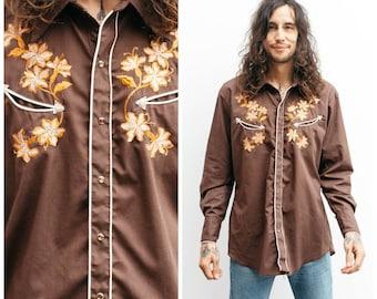 Vintage Western Shirt / Retro Cowboy / Embroidered / Size L