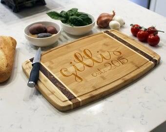 Personalized Cutting Board, Custom Cutting Board, Engraved Cutting Board, Monogrammed Cutting Board, Custom Wedding Gift --CB-BAMM-GILLIS