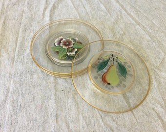 Vintage Hand Painted Floral and Fruit Luncheon Plates with Gold Trim, Set of 4