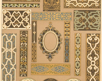 1889 Antique DECORATIVE ARTS Print Motifs Decoration Ornamental Lithograph Dekorative Vorbilder