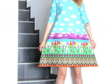 NEW Colorful Dress / Sexy Printed Dress / Mini Dress by FabraModaStudio / D136