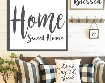 Home Sweet Home Sign Fixer Upper Signs Farmhouse Decor White Farmhouse Sign Rustic Home Decor Large