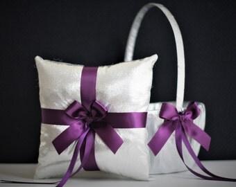 Silver Ring bearer Pillow, Plum Flower Girl Basket, Plum Wedding Basket, Plum Wedding Pillow, Plum Ring Holder, Silver pillow basket set