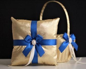Royal Blue Wedding Basket + Ring Bearer Pillow Set \ Gold Blue Flower Girl Basket Pillow Set \ Gatsby Wedding \ Royal Blue Wedding pillow