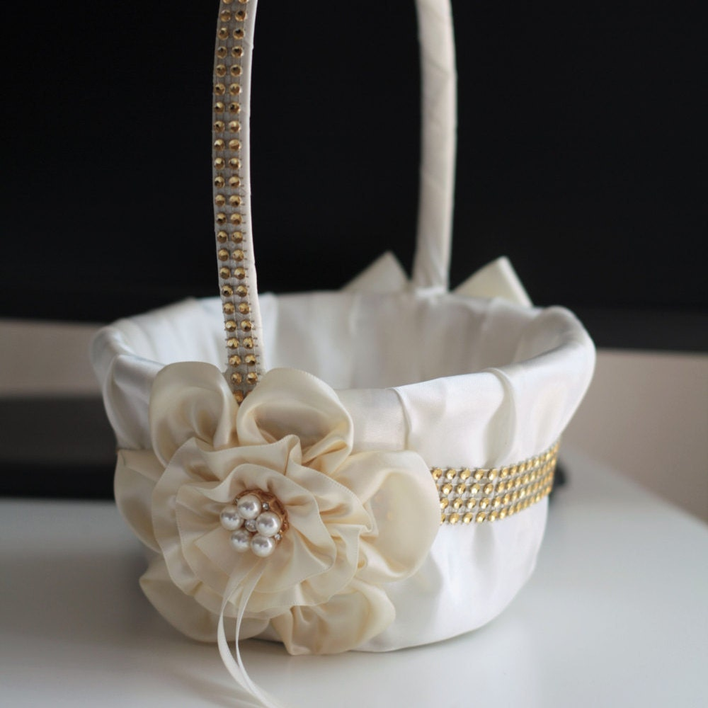 Flower Girl Baskets Ivory Uk : Ivory flower girl basket gold wedding