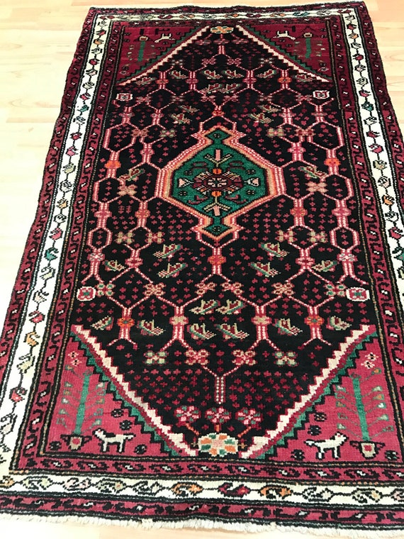 "3' x 4'9"" Persian Hamadan Oriental Rug - 1950s - Hand Made - 100% Wool"