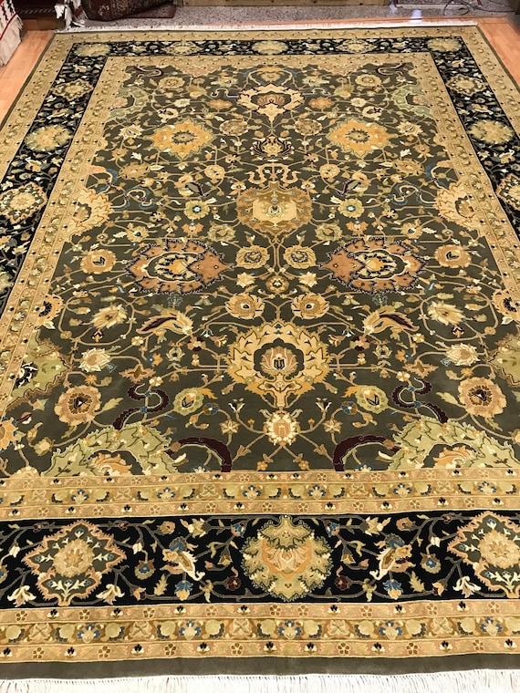 "9'1"" x 12'2"" Pakistani Agra Oriental Rug - 350 KPSI - Hand Made - 100% Wool"