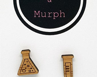 Laser Cut Wood Science Kit Bamboo Earrings Studs