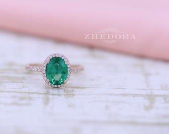 Emerald Engagement Ring in 14k or 18k Rose Gold , Oval Engagement Ring, Mother Ring, May Birth Stone