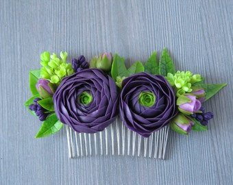 Purple wedding hair comb Wedding hair piece for wedding hair clip flower comb Bridesmaid hair accessories flower hair comb Floral comb bride