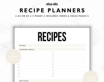 RECIPE PLANNER / Recipe Book / 2018 Planner / Recipe Printable / Recipe Pages / Recipe Binder / The Frankie Planners in Bone / 420