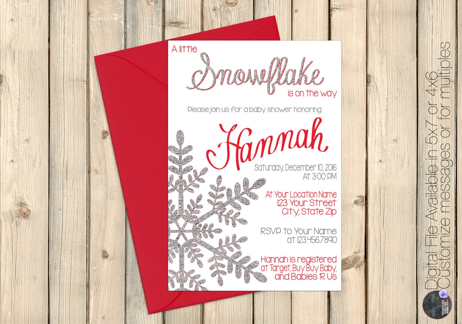 Pink Winter Wonderland Baby Shower Invitation, Little Snowflake on ...