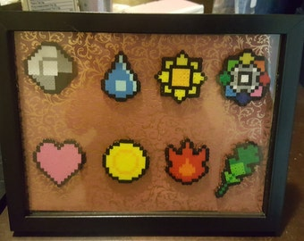 Framed Perler Pokémon Kanto Badge set(custom background colors)