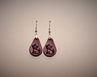 Leather Earings - Pink Cat