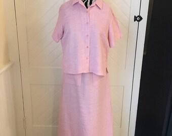 Vintage Eileen Fisher Pink Linen Skirt Set-2 Piece- Size Small