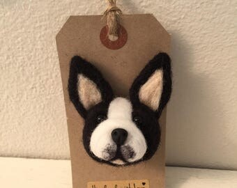 Boston terrier Brooch, Handmade Boston terrier dog Unique Pin Accessory, animal lover gift