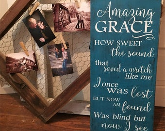 Hymn Wall Art • Amazing Grace Wood Sign • How Sweet The Sound • Customize with favorite hymn • Rustic Farmhouse Sign • Shabby Chic Decor