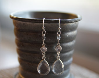 Silver Clear Quartz Earrings / Rutilated Quartz Earrings