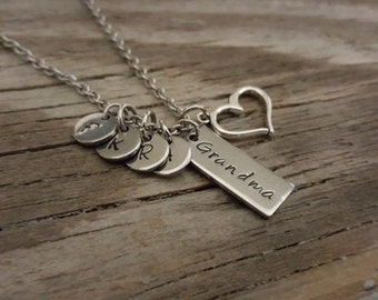 Hand Stamped Necklace - Grandma Necklace - Initial Necklace - Grandmother Necklace - Necklace