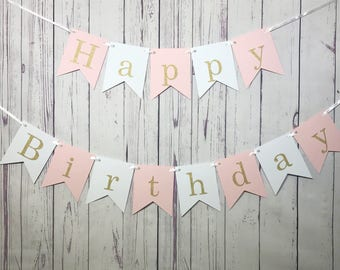 Happy Birthday Banner, First Birthday, 1st Birthday, Girl Birthday, Pink White Banner, Pink and Gold Glitter, I Am One, Personalized Name