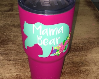 Mama Bear Decal // Mama bear  flowers // Floral mama bear decal // Mama bear // Mama Bear car decal // Mama Bear Yeti Decal // Mothers Day