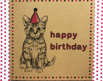 Cat Birthday Card, illustrated kitten card with party hat, fun way to say happy birthday to a cat lover, ideal for a friend, niece, daughter