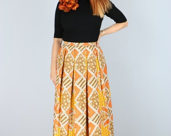 Vintage Boho 1970's Pleated Patterned Maxi Skirt Gold Orange Yellow Brown Size XS Small