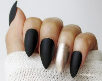 Matte Black Almond Nails | Stiletto Nails | Press On Nails | Fake Nails | Gold Accent Nails