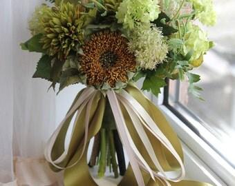 Bridal bouquet Wedding bouquet , Silk bouquet , Wild flower , Rustic bouquet , Bouquet with Groom's Boutonniere No40_001G