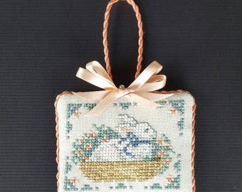 completed cross stitch ornament Lanarte Bunny Basket bowl filler cupboard tuck home decor