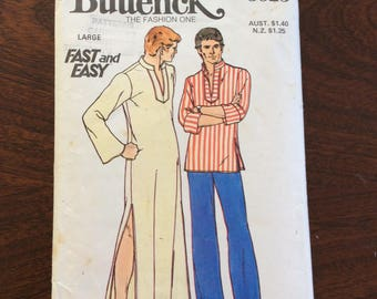 """1970s Mens caftan and tunic top  sewing pattern Butterick Patterns Fast  Easy  3625  Large 42"""" - 44"""" complete"""