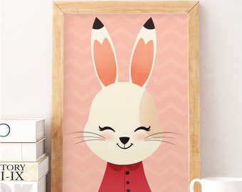 Rabbit print, Cute rabbit, Nursery wall decor, Cute art work, Rabbit poster, Kids print, Kids room decor, Minimalist kids art, Nursery decor