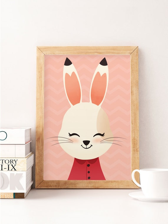 Rabbit Print Cute Rabbit Nursery Wall Decor Cute Art Work