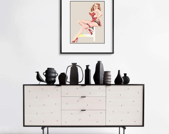 Pinup 1940s Vintage Retro Wall Art, Pinup Girl Picture Art
