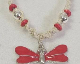 Dragonfly Pendant Hemp Necklace